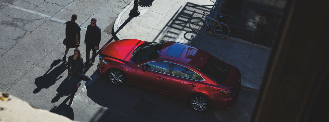 An overhead photo of the 2019 Mazda6 parked on a street.