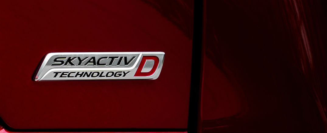 A photo of the SKYACTIV®-D badge used by the Mazda CX-5 Diesel.
