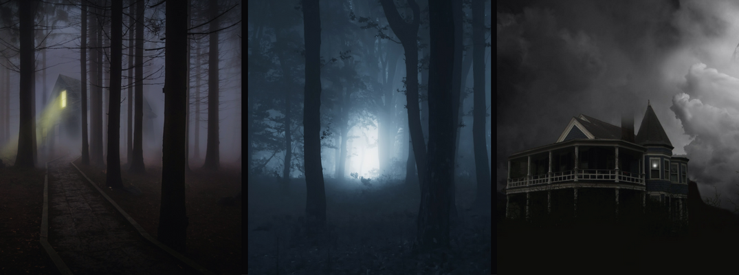 3 Images of Haunted Houses and Haunted Woods at Night