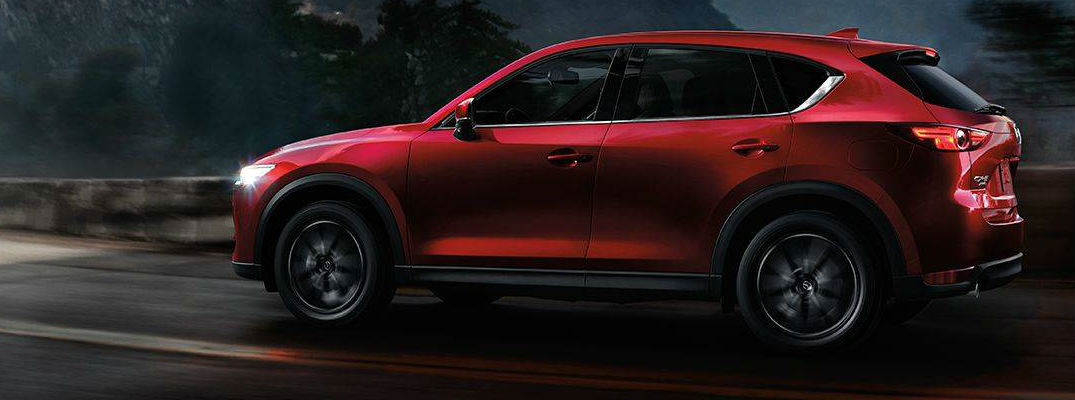 Soul Red Crystal Metallic 2018 Mazda CX-5 Side Exterior on Mountain Road at Night