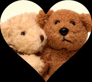 Tan and Brown Bears Hugging in Heart Cutout