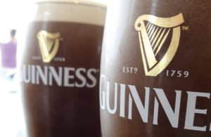 Close Up of Full Guinness Pint Glasses
