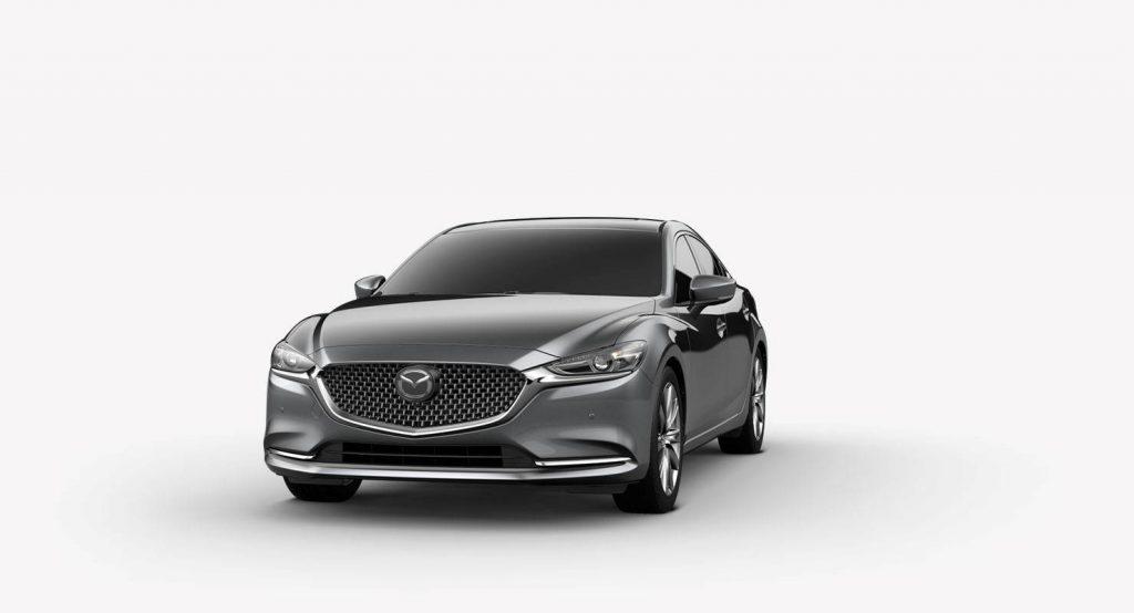Machine Gray Metallic 2018 Mazda6 Exterior on White Background