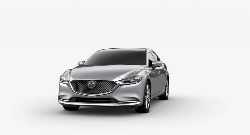 Sonic Silver Metallic 2018 Mazda6 Exterior on White Background