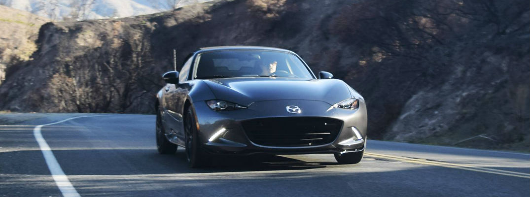 Gray 2018 Mazda MX-5 Miata Front Exterior on a Mountain Highway