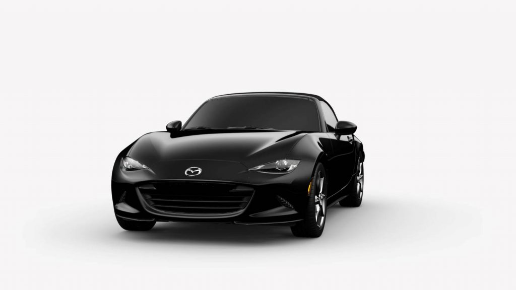 2018 Mazda MX-5 Miata Jet Black Mica Exterior on White Background