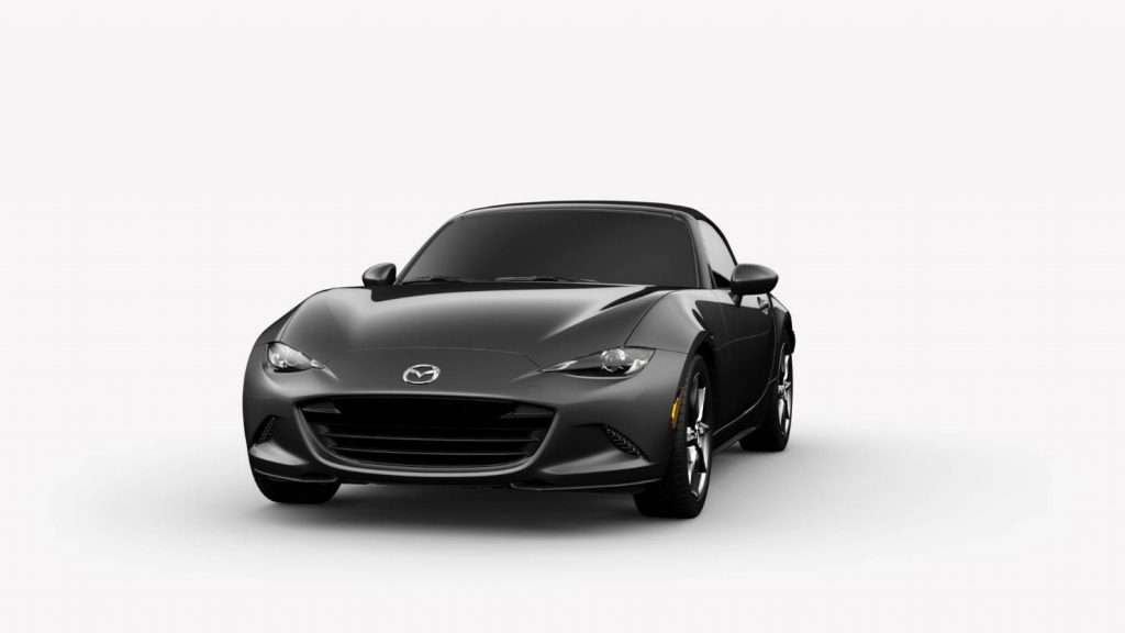2018 Mazda MX-5 Miata Machine Gray Metallic on White Background