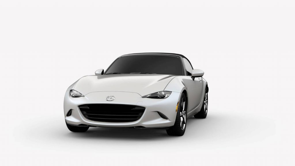 2018 Mazda MX-5 Miata Snowflake White Pearl Mica Exterior on White Background