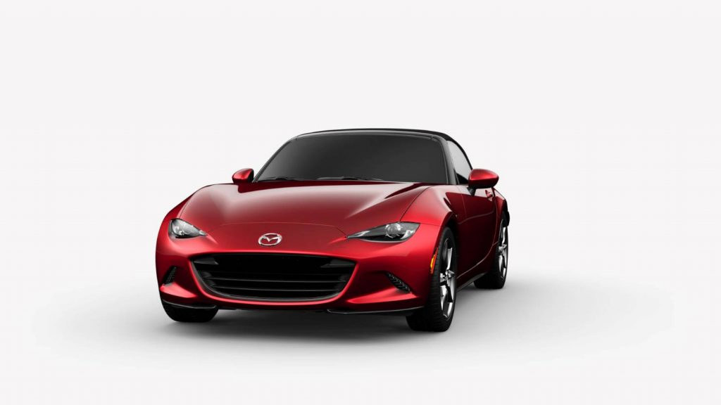 2018 Mazda MX-5 Miata Soul Red Crystal Metallic Exterior on White Background