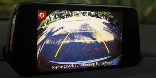 Close Up of 2018 Mazda CX-5 Rearview Camera with Dynamic Guidelines