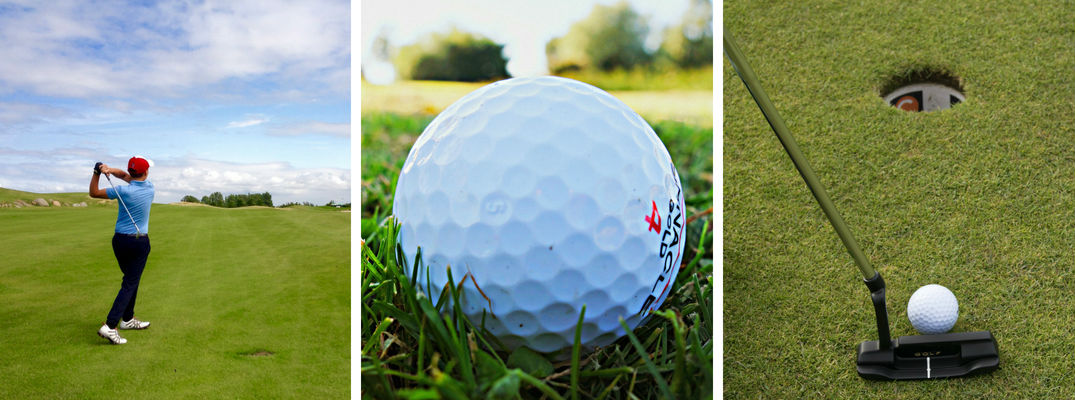 Pictures of a Golfer Swinging a Club, a Golf Ball and a Putter, Ball and Golf Hole