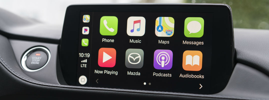 Close Up of a MAZDA CONNECT Touchscreen with Apple CarPlay Menu
