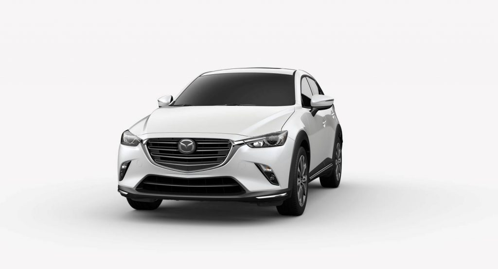 Snowflake Pearl Mica 2019 Mazda CX-3 on White Background