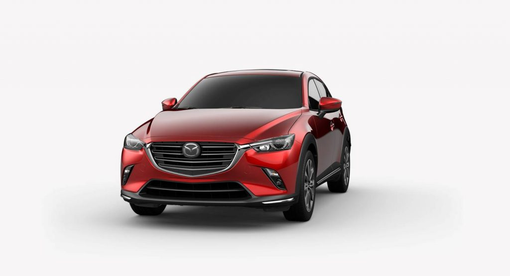 Soul Red Crystal Metallic 2019 Mazda CX-3 on a White Background