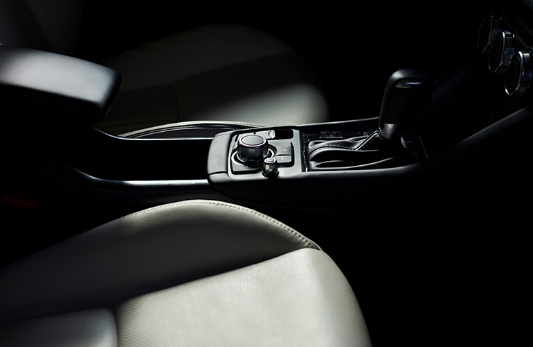2019 Mazda CX-3 center console with prominent gear shifter