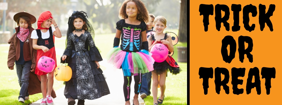Picture of Trick or Treaters in Costume on Halloween with an Orange Background with Black Trick or Treat Text