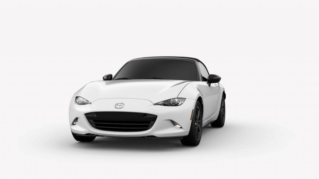 Arctic White 2019 Mazda MX-5 Miata Exterior on White Background