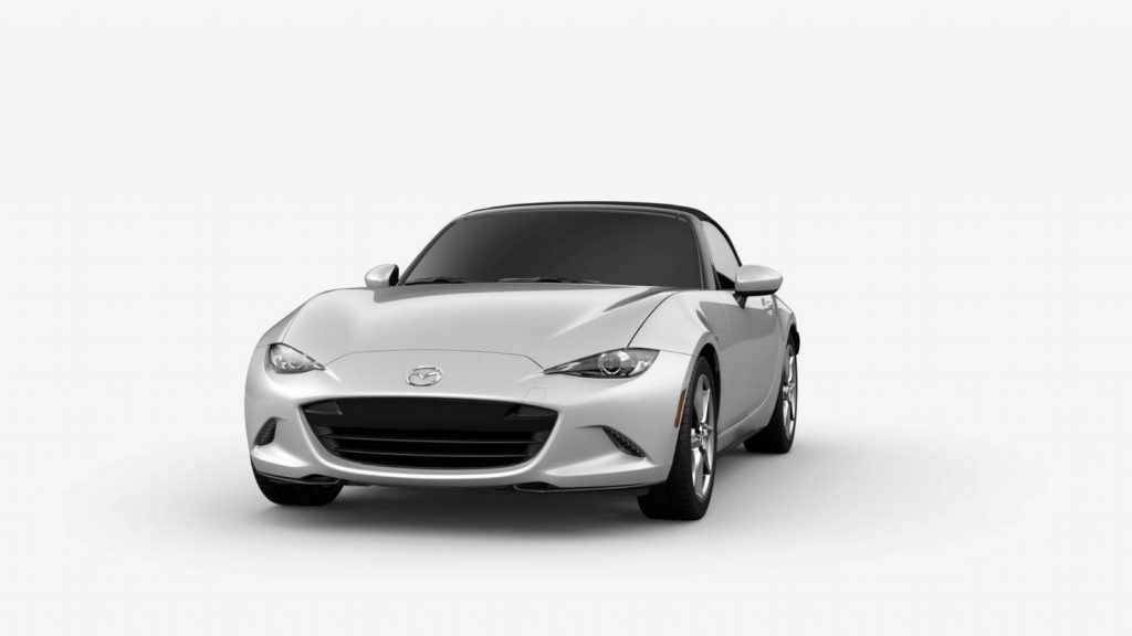 Ceramic Metallic 2019 Mazda MX-5 Miata Exterior on White Background