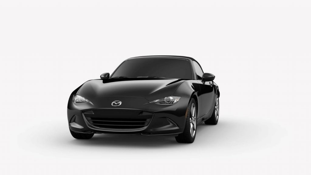 Jet Black Mica 2019 Mazda MX-5 Miata Exterior on White Background