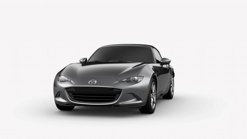 Machine Gray Metallic 2019 Mazda MX-5 Miata Exterior on White Background