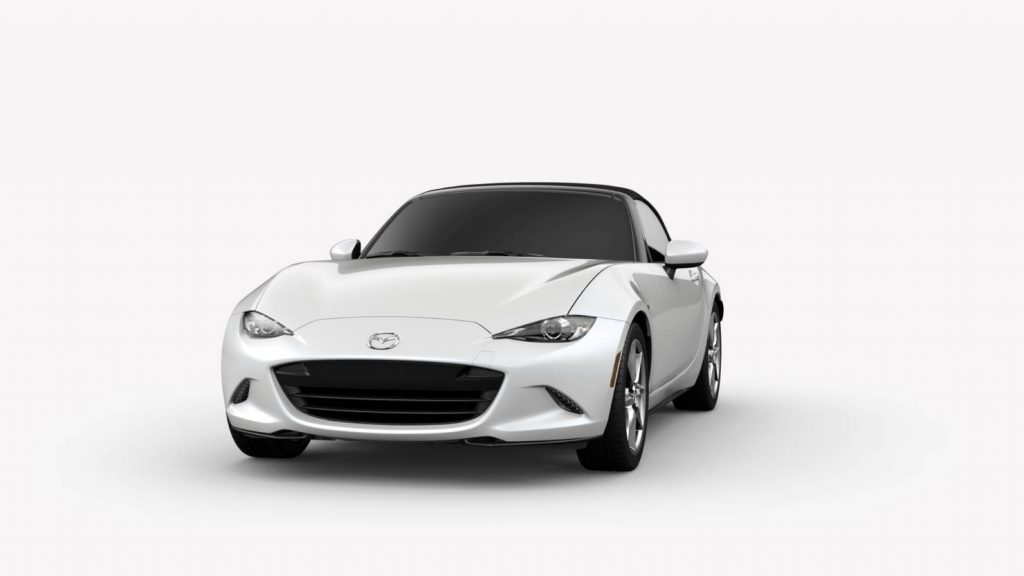 Snowflake White Pearl Mica 2019 Mazda MX-5 Miata Exterior on White Background