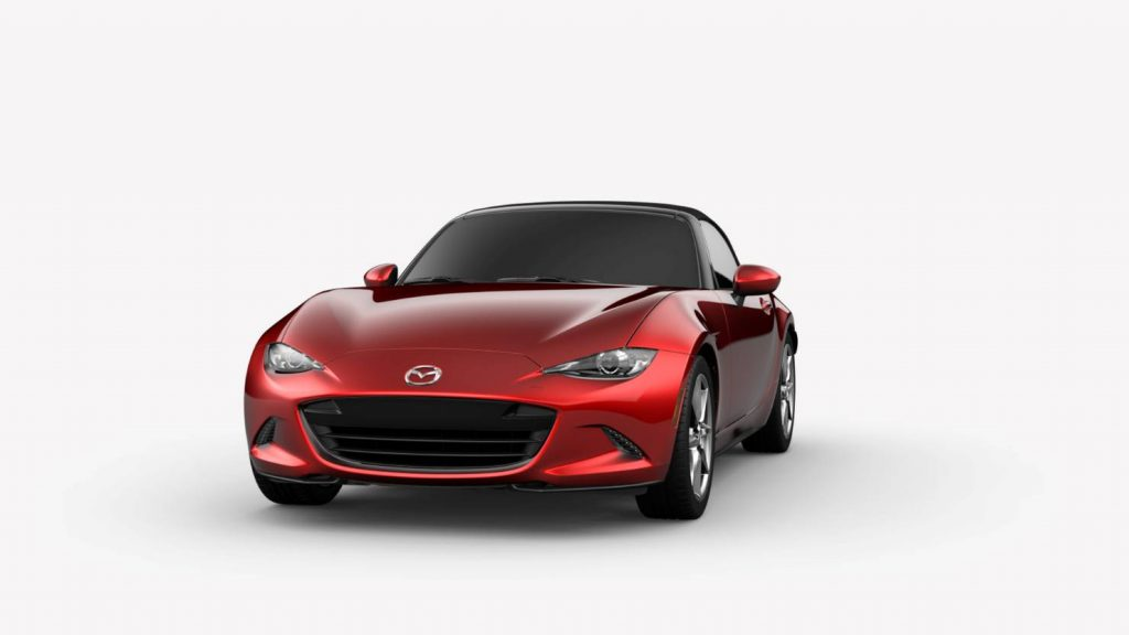 Soul Red Crystal Metallic 2019 Mazda MX-5 Miata Exterior on White Background