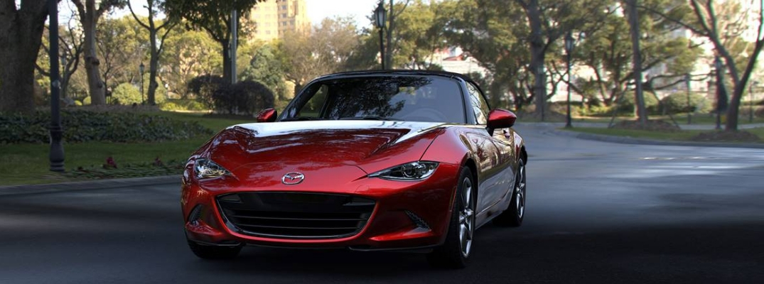 Red 2019 Mazda MX-5 Miata on a Wooded Road