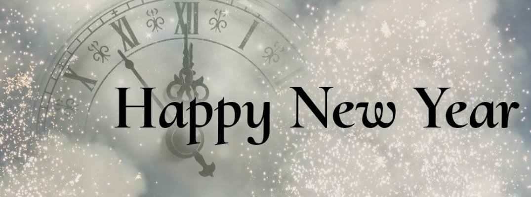 Silver Background with Clock Face and Glitter and Black Happy New Year Text