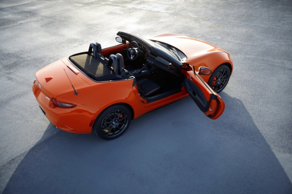 Overhead View of Racing Orange 2019 Mazda MX-5 Miata 30th Anniversary Edition with Top Down