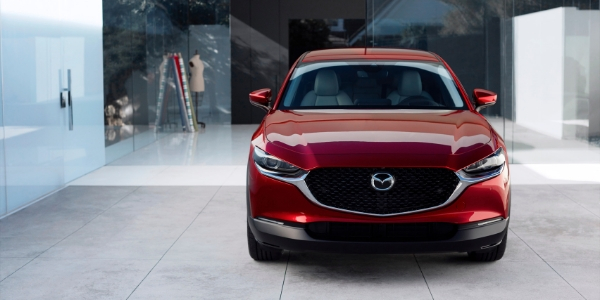 Red 2020 Mazda CX-30 Front Exterior Parked in a Driveway