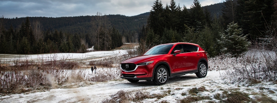 Red 2019 Mazda CX-5 on a Snowy Trail