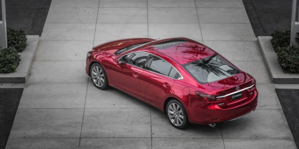 Red 2019 Mazda6 Rear Exterior in a Driveway