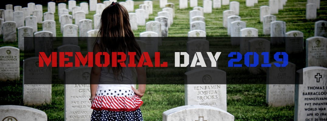 Little Girl Standing in Military Cemetery with Black Rectangle Text Box and Red, White and Blue Memorial Day 2019 Text