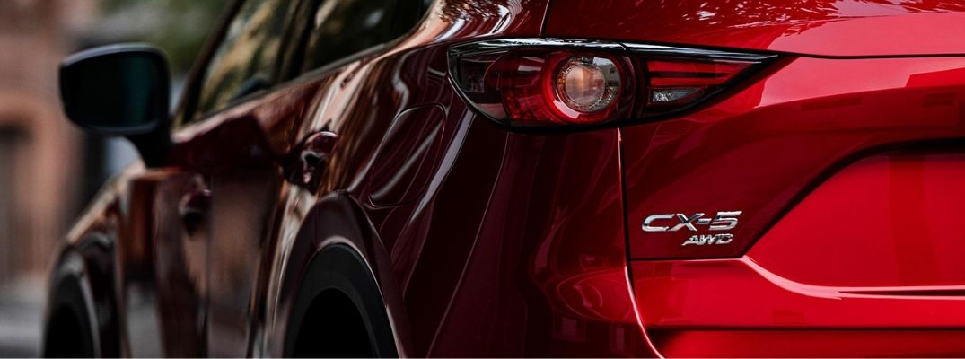 Close Up of Red 2019 Mazda CX-5 Rear Exterior and CX-5 AWD Badge