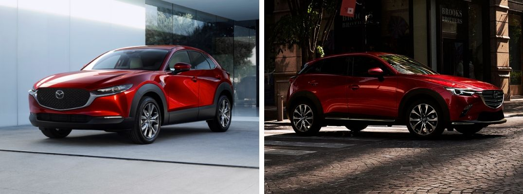 Red 2020 Mazda CX-30 in a Driveway vs Red 2019 Mazda CX-3 on a City Street