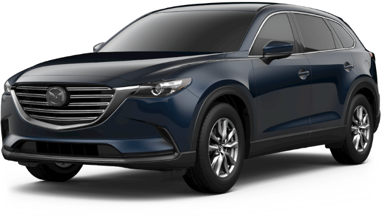 Deep Crystal Blue Mica 2019 Mazda CX-9 on White Background