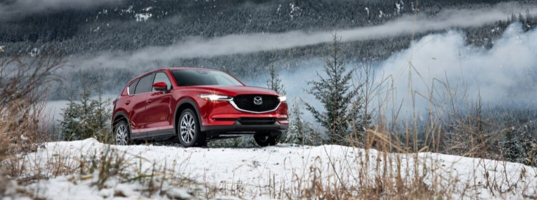 Red 2019 Mazda CX-5 on a Snow-Covered Hill