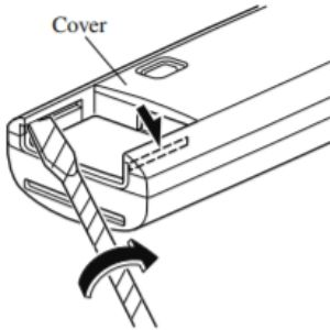 Black and White Diagram of How To Remove the Mazda Key Fob Battery Cover with a Screwdriver