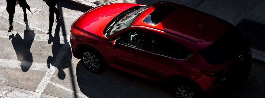 Overhead View of Red 2019 Mazda CX-5 on a City Street