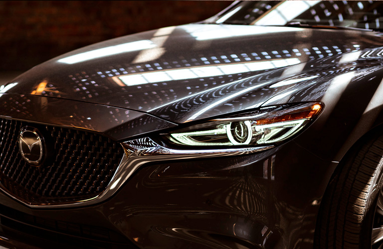 Close Up of 2020 Mazda6 Headlights and Grille