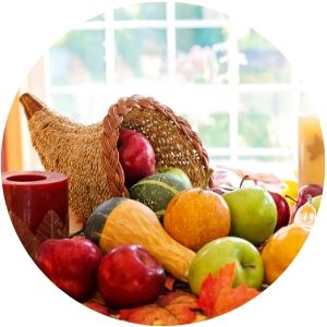 Cornucopia on a Table at Thanksgiving with Fruit and Vegetables