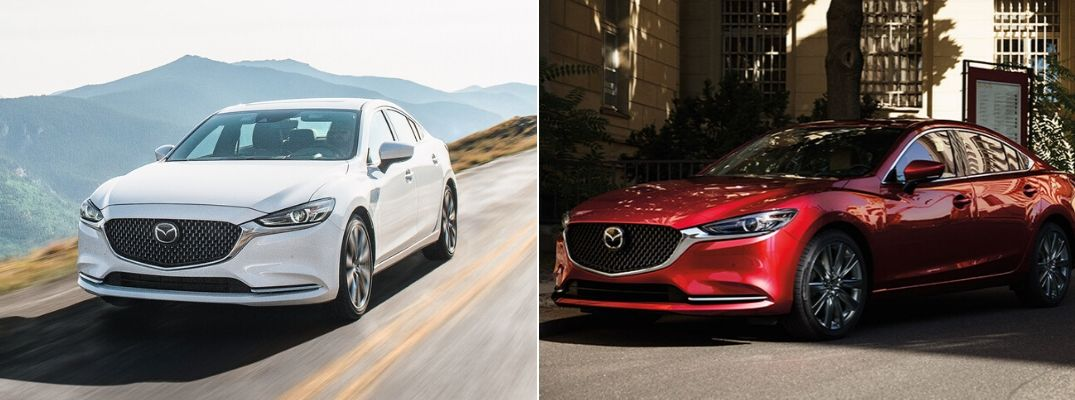 White 2020 Mazda6 on Mountain Road vs Red 2019 Mazda6 on City Street