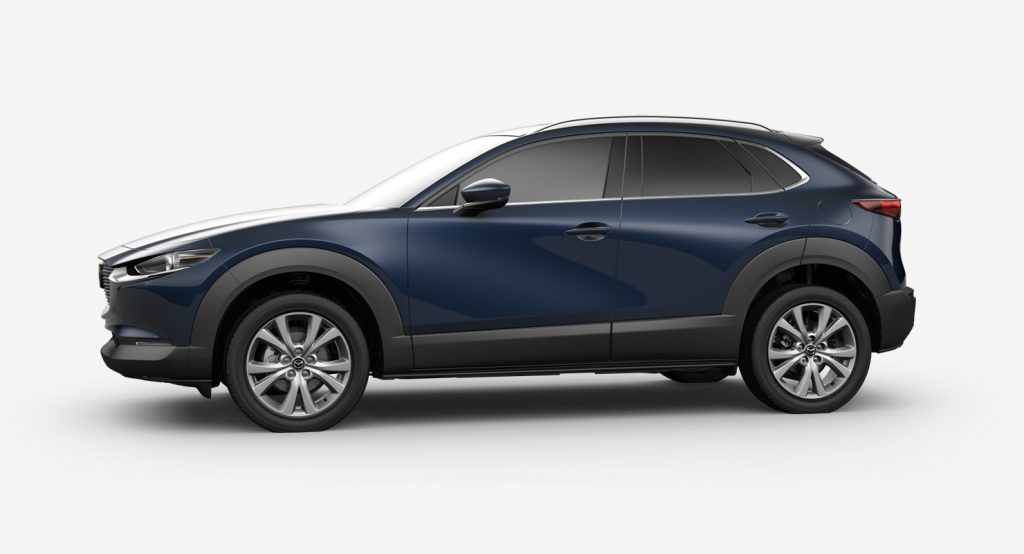 Deep Crystal Blue Mica 2020 Mazda CX-30 on White Background