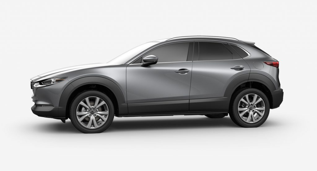 Machine Gray Metallic 2020 Mazda CX-30 on White Background