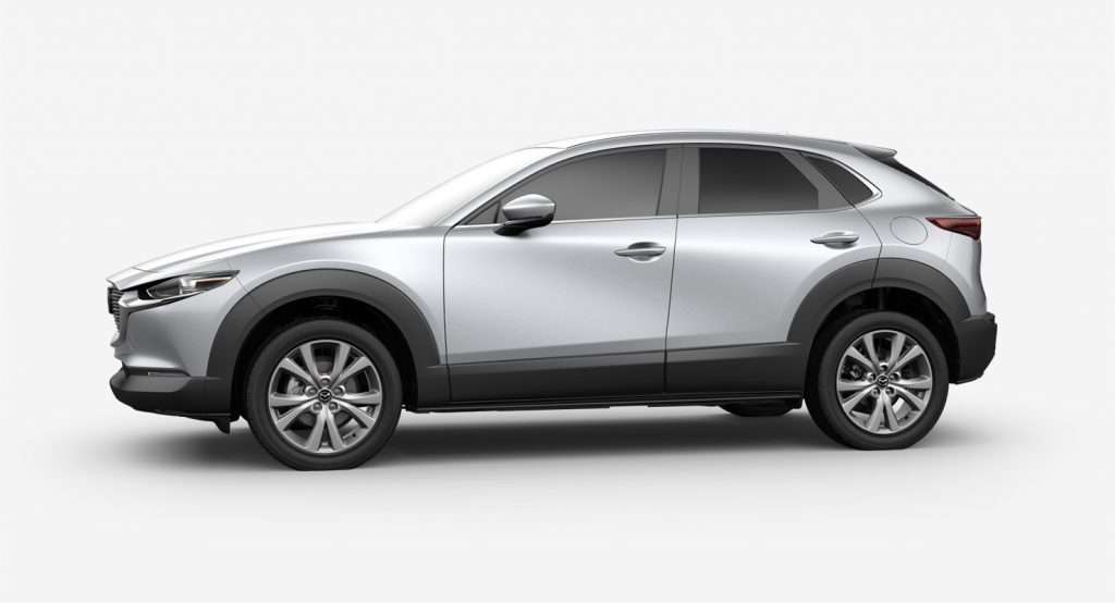 Sonic Silver Metallic 2020 Mazda CX-30 on White Background