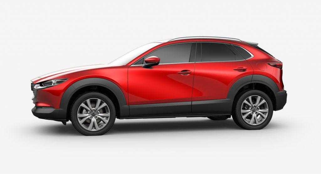 Soul Red Crystal Metallic 2020 Mazda CX-30 on White Background