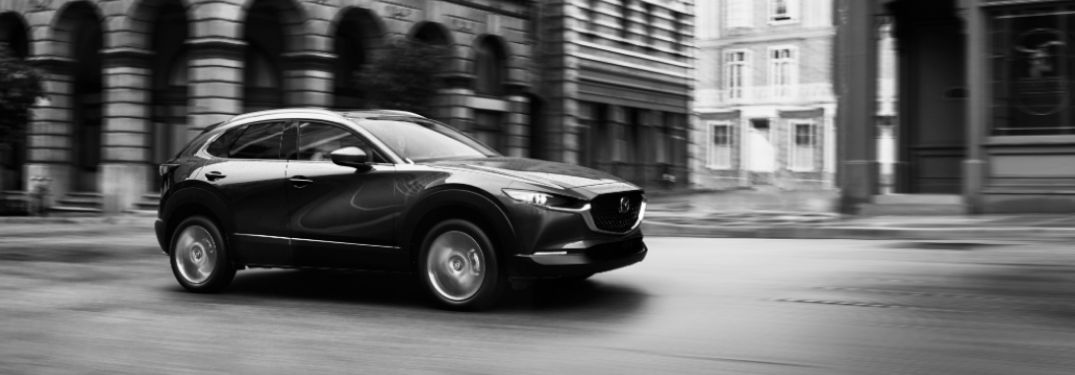 Black and White Photo of 2020 Mazda CX-30 on a City Street