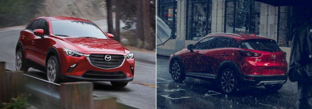 Red 2020 Mazda CX-3 on Country Road vs Red 2019 Mazda CX-3 Rear Exterior in the Rain