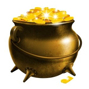 Leprechaun's Pot of Gold on a White Background