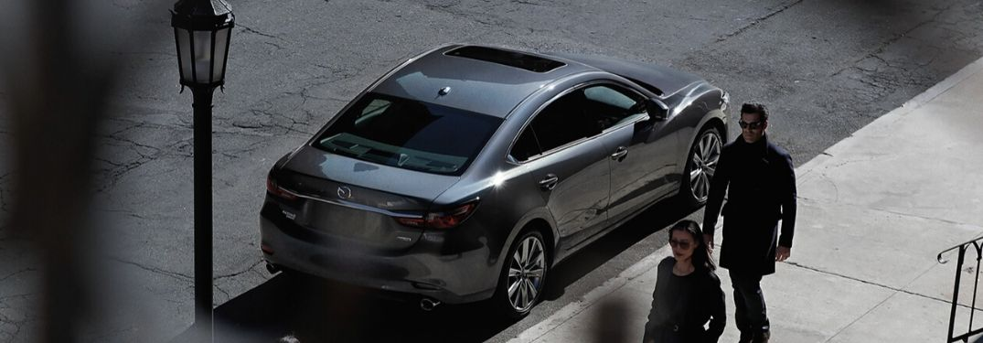 Gray 2020 Mazda6 Rear Exterior on a City Street